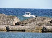 boat breakwall Lake Ontario
