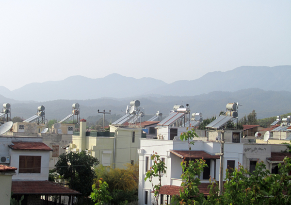 Water tanks on the roofs of Turkish houses