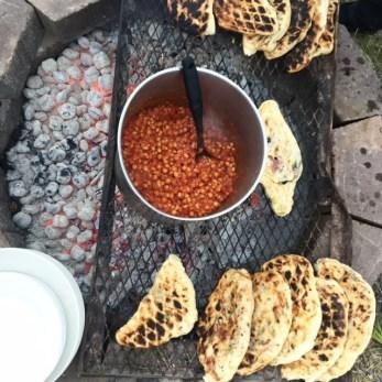 feta & chard stuffed flatbreads; baked chickpeas