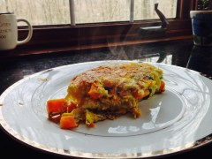 Spinach - sweet potato omelet