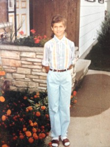 First day of school (c. 1982) - Yes, those are socks I'm wearing with my sandals and before I permed my bangs.