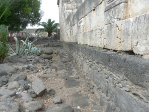 The black stones are from the 1st century synagogue at Capernaum.