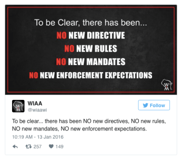 WIAA no new rules