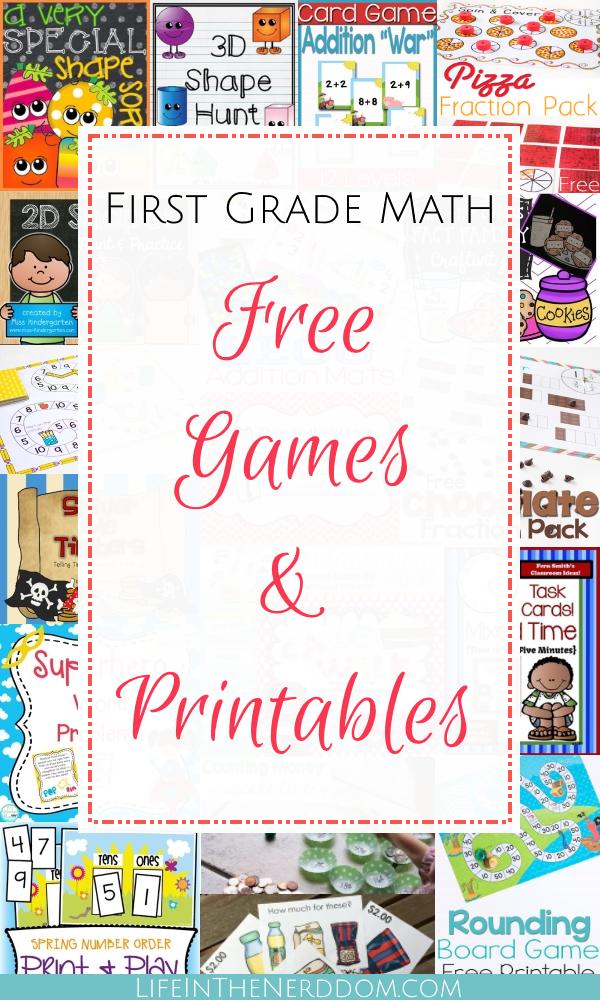 First Grade Math Free Games & Printables at LifeInTheNerddom.com