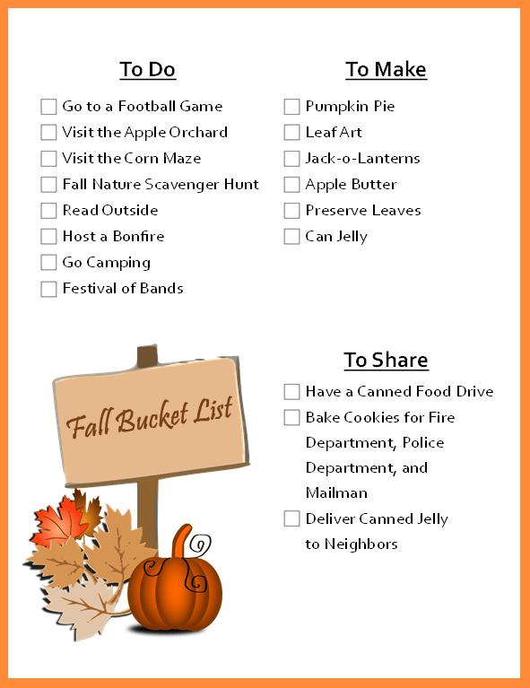 Fall Bucket List Printable at LifeInTheNerddom.com