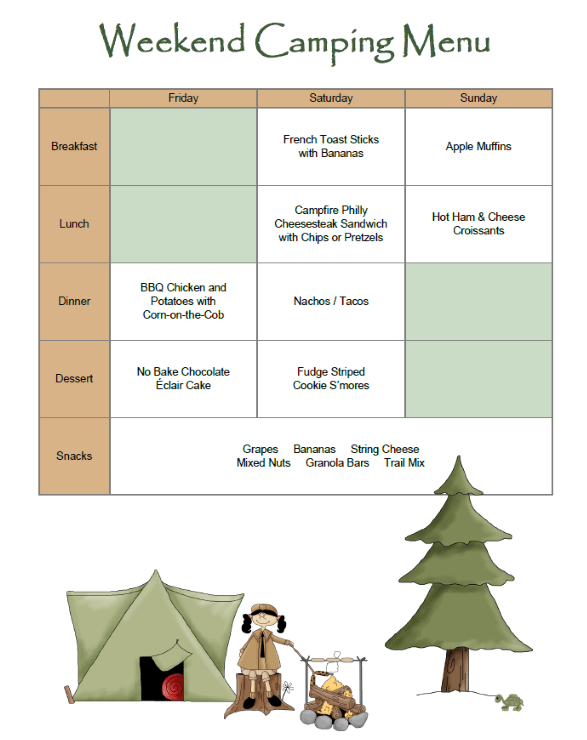 Free Printable Camping Menu Planner at LifeInTheNerddom.com