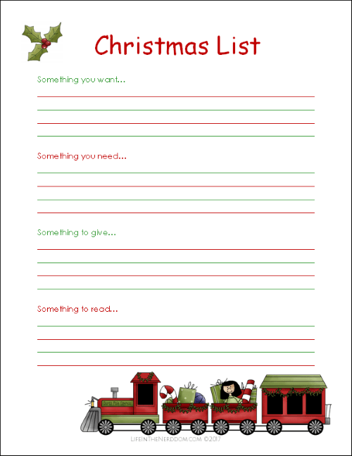 picture relating to Free Printable Christmas Wish List known as Absolutely free Printable Xmas Listing for Little ones - Lifestyle in just the Nerddom