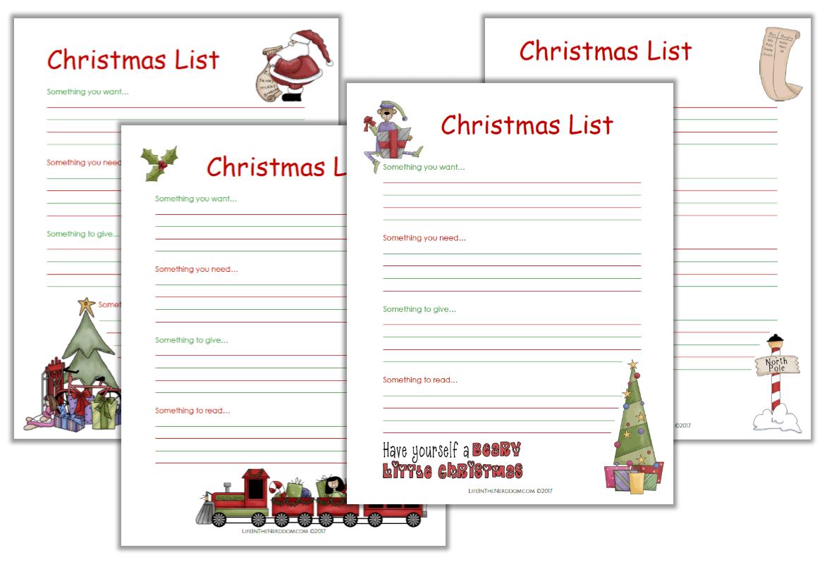 photo relating to Printable Christmas List called Xmas Checklist - Lifetime inside of the Nerddom