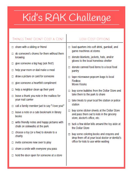 Kid's Random Acts of Kindness Challenge Printable at LifeInTheNerddom.com