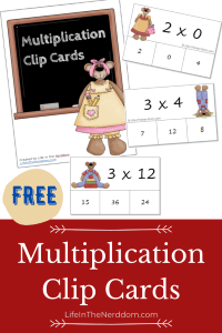 Multiplication Clip Cards at LifeInTheNerddom.com