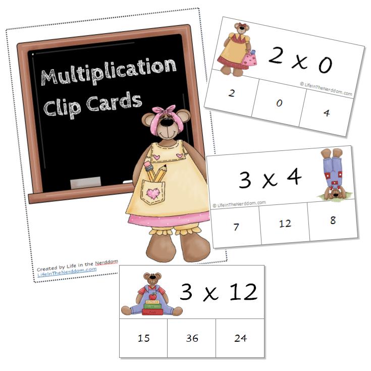 Multiplication Clip Cards at LifeInTheNerddom.com