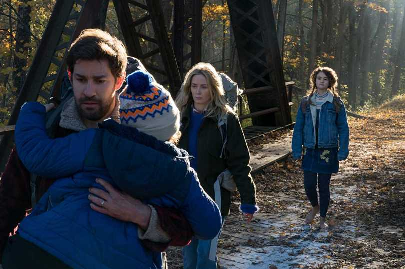 John Krasinski, Noah Jupe, Emily Blunt, and Millicent Simmonds - tip-toeing to survive