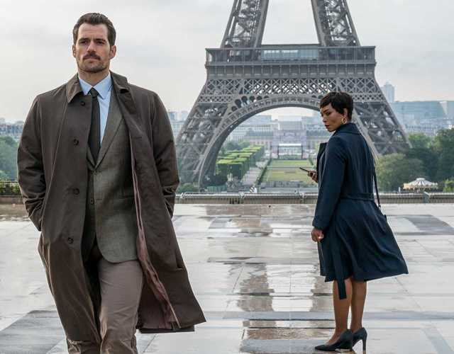 Henry Cavill and Angela Bassett lean away from the IMF.