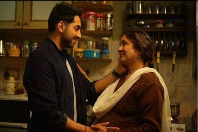 Ayushmann Khurrana and Neena Gupta share an emotional moment.