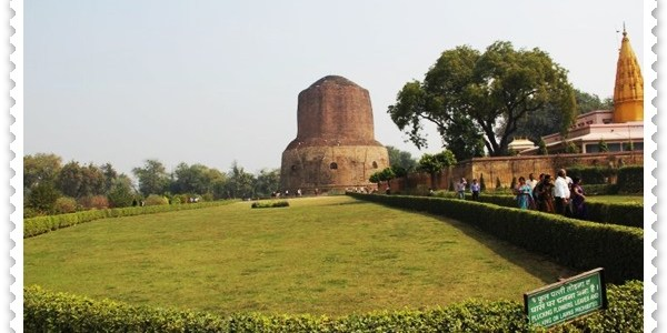 Turning the wheel of Law in Sarnath, India