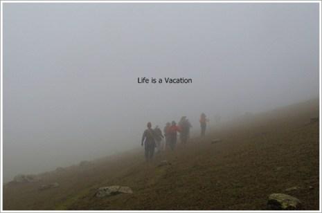 Kashmir Great Lakes Harmukh Walking in Mist