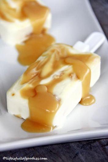 Joghurt-Karamell-Eis am Stiel