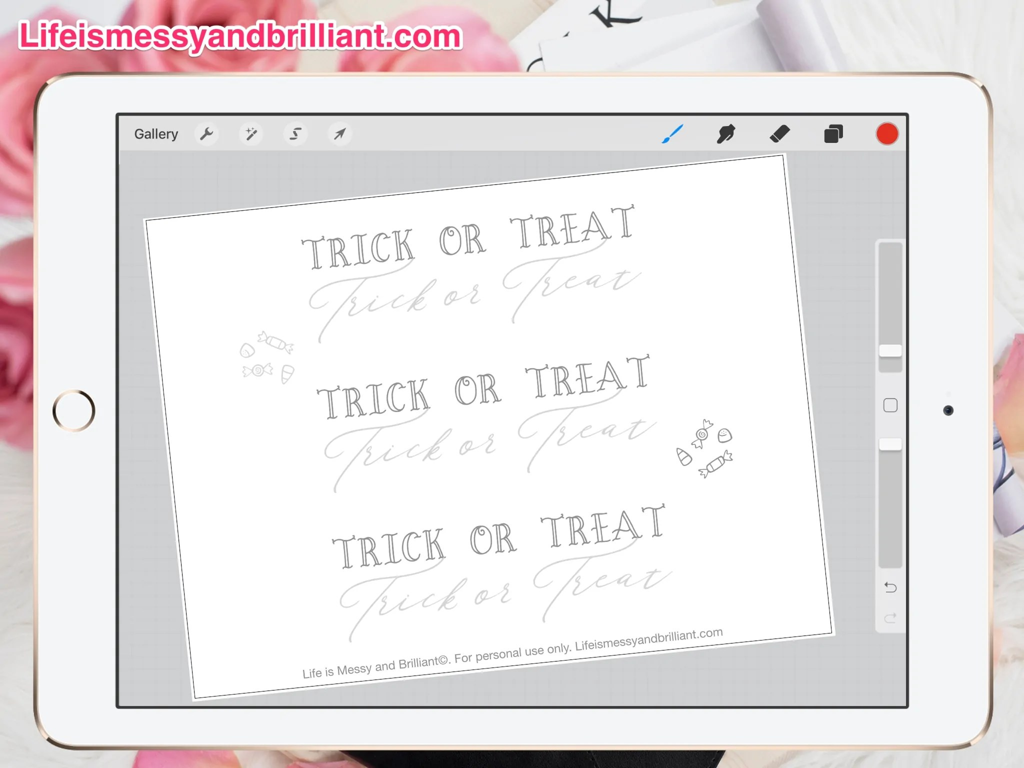 Free Trick Or Treat Hand Lettering Printable