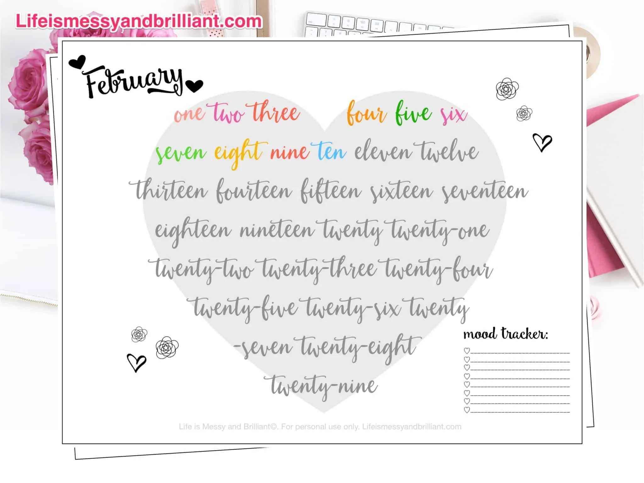 Free February Mood Tracker Lettering Printable