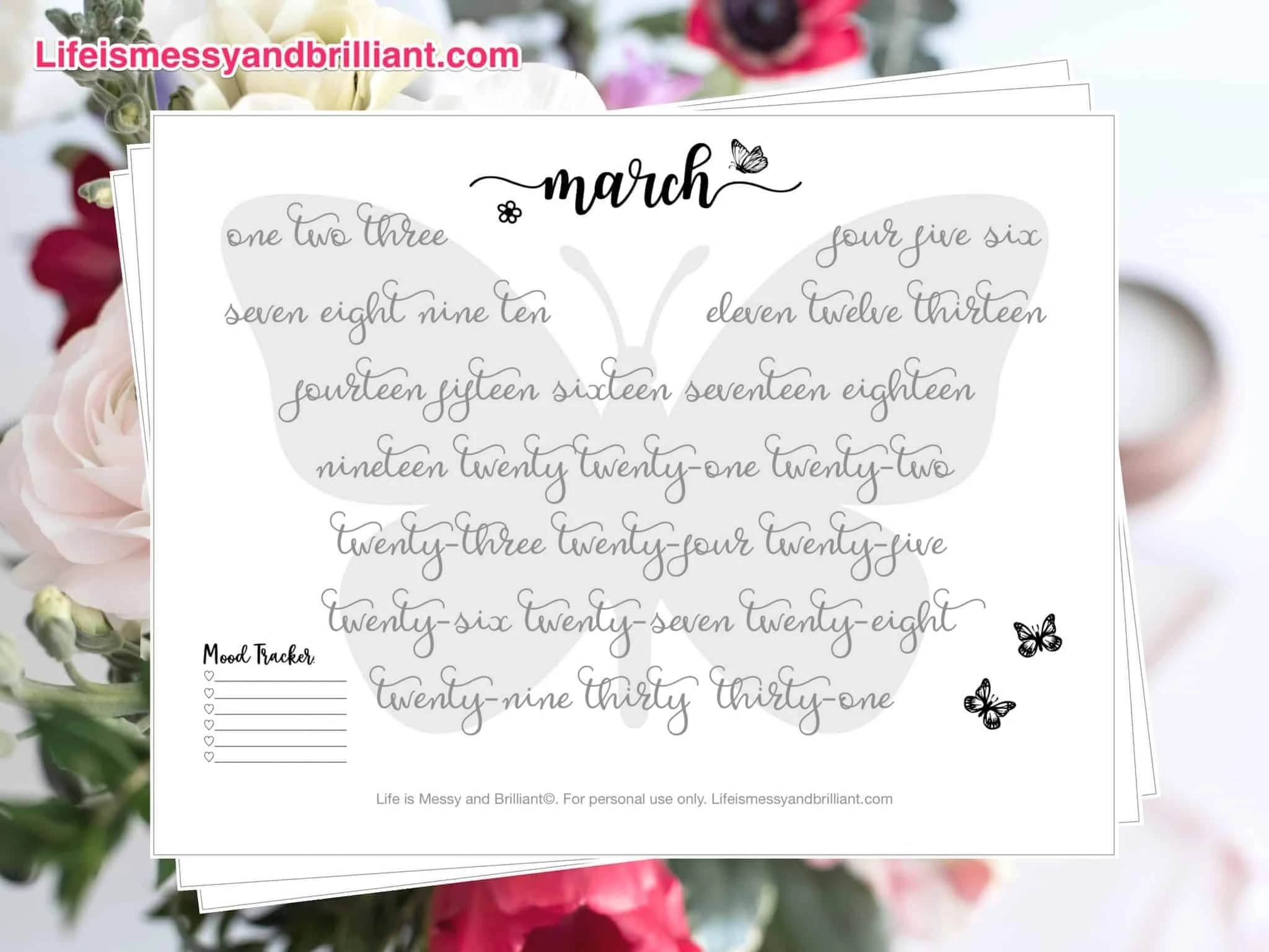 Free March Mood Tracker Hand Lettering Printable