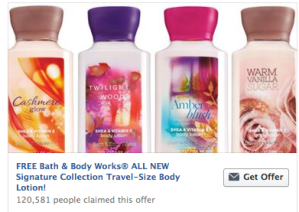 FREE Bath & Body Works Signature Collection Travel Size Body Lotion