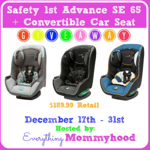 Safety 1st Advance SE 65 Air + Convertible Car Seat Giveaway!