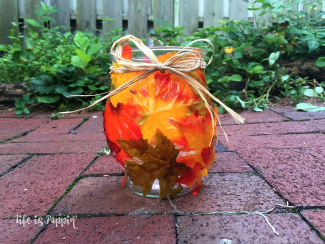 Easy Fall Mason Jar Candle Holder- decor