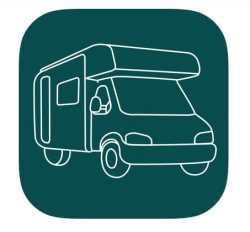green image of an iphone application for campervan overnight stops