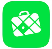 green image of an iphone application for interactive maps