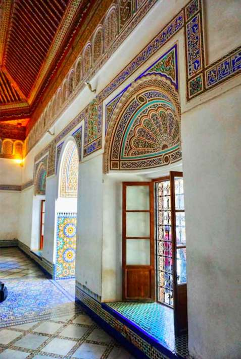 Beautiful coloured mosaics within a building