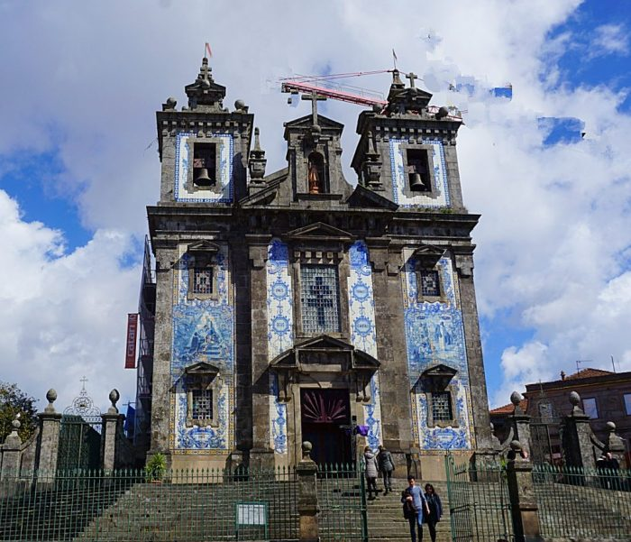 Church with its blue/ white styled azulejo tiled facades