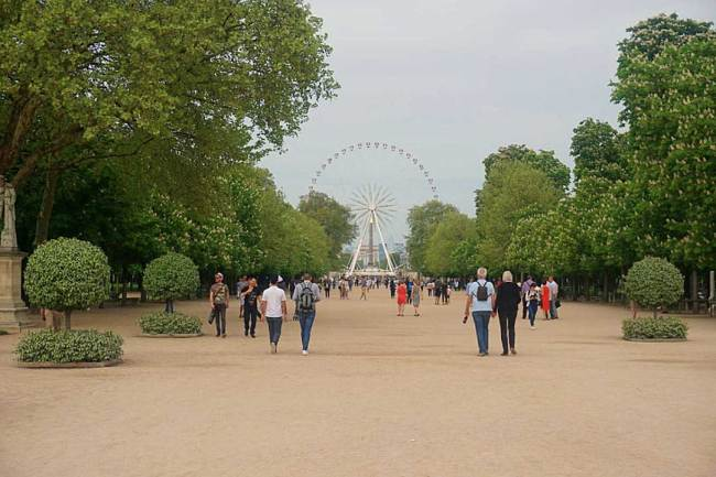 The main thoroughfare through Tuileries Gardens on a wide dirt path with the ferris wheel in the background