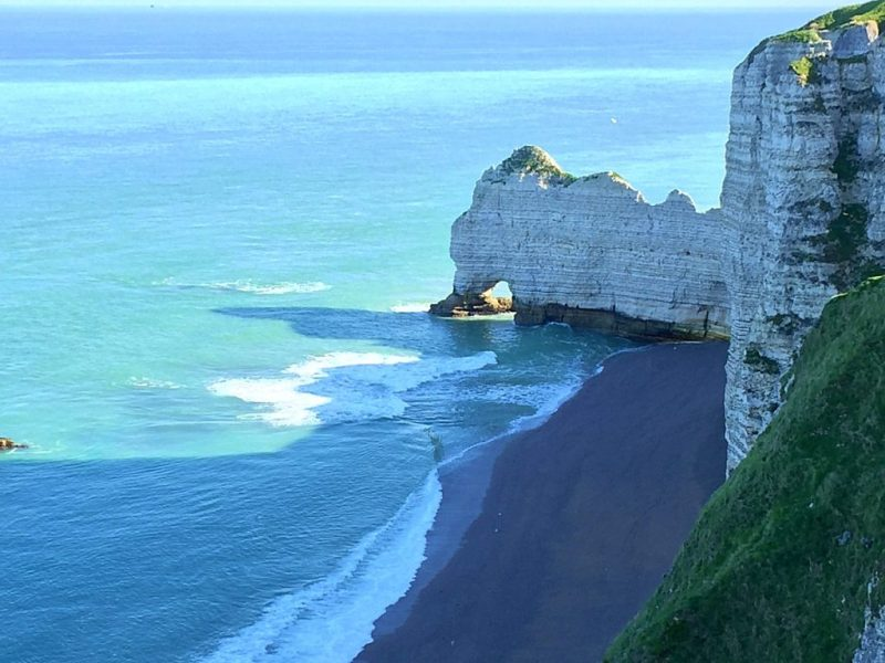 white limestone cliffs forming in the sea