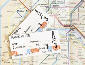 2 Paris 48 hour train tickets overlaid on the public transport map of Paris