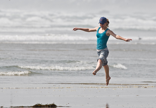 Dancing Girl on Beach
