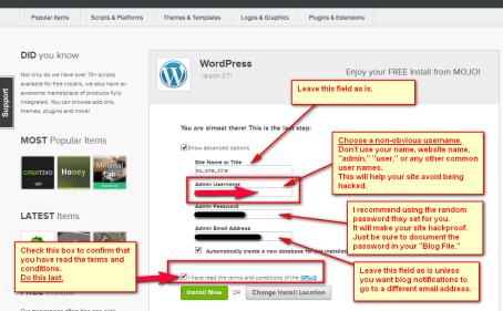Checkboxes Install WordPress