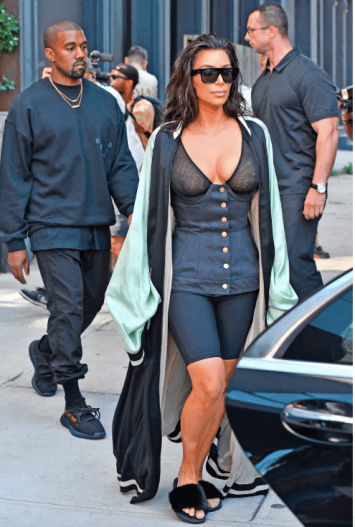 Kim Kardashian wearing a pair of black Givenchy sliders; THE SUN