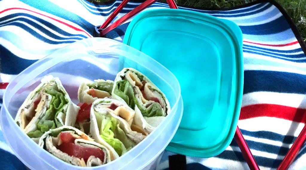 Turkey rollups in a container on a picnic blanket.