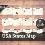 Usa States Map 51 Flash Cards Montessori Activity 3 Part Cards Homeschooling Geography Printable Download Laminated Cards Lifelolo