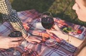 couple having a picnic drinking a glass of wine