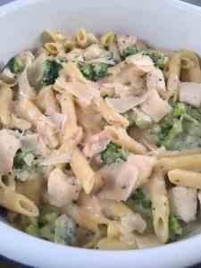 chicken and broccoli alfredo in white bowl lifeloveandblog