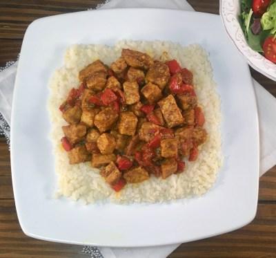 Curried Pork over Cauliflower Rice