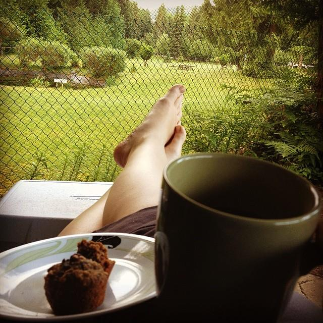 My Morning View. Coffee and breakfast on the porch