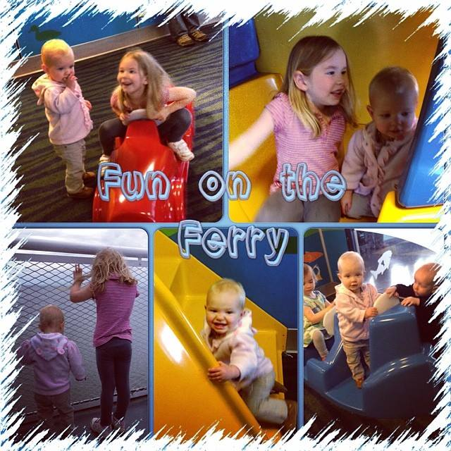 Fun on the Ferry - the girls had a blast exploring all over, so much better then driving!