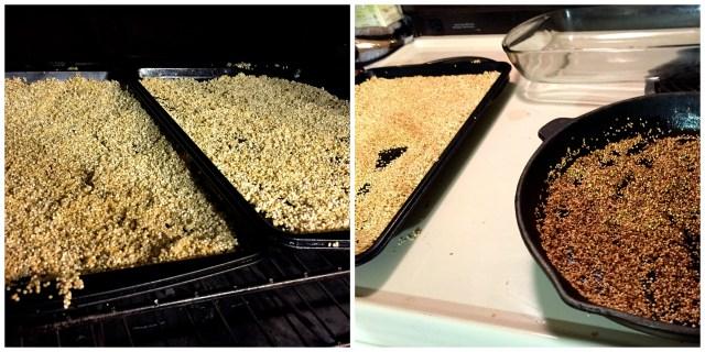 Puffed quinoa collage