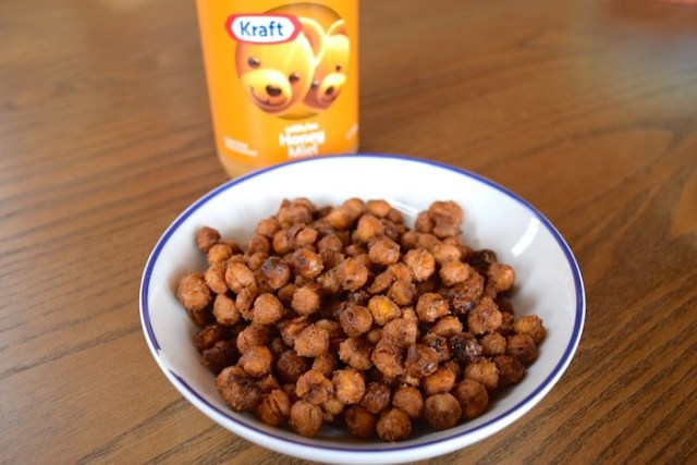Roasted Chickpeas with Peanut Butter and Honey