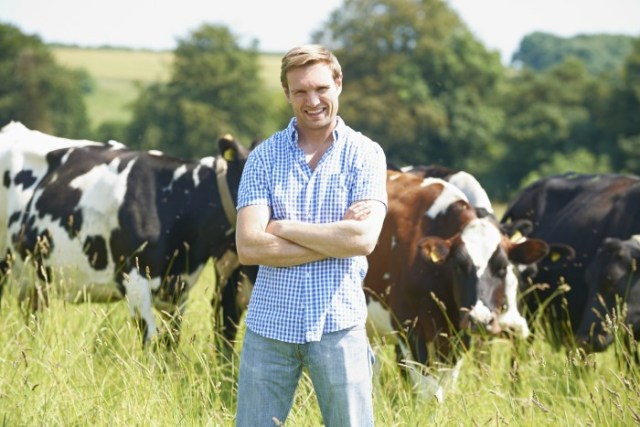 Portrait Of a Canadian Dairy Farmer In Field With Cattle