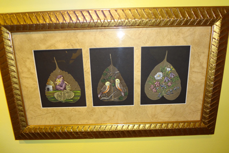 Paintings on pipal leaves at Ripley's Believe It Or Not