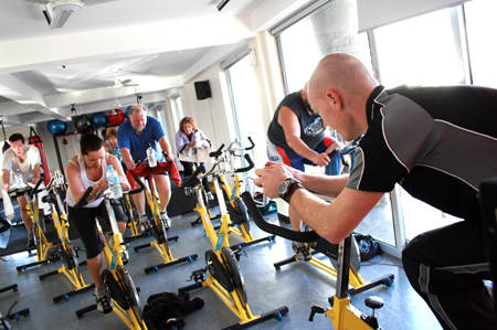 Gym workout at a spin class