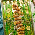 Sheet Pan Lemon Garlic Chicken – the perfect easy meal for busy weeknights. Best of all, made with tender and juicy chicken, asparagus and broccoli coated in a flavor packed sauce.